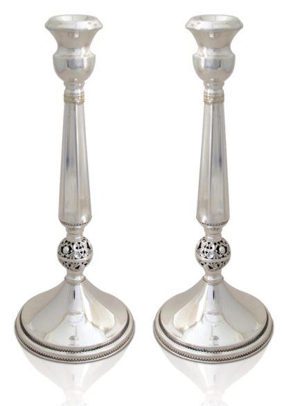 Fresh, filigree sterling silver candlesticks. Shabbat Judaica made in Israel