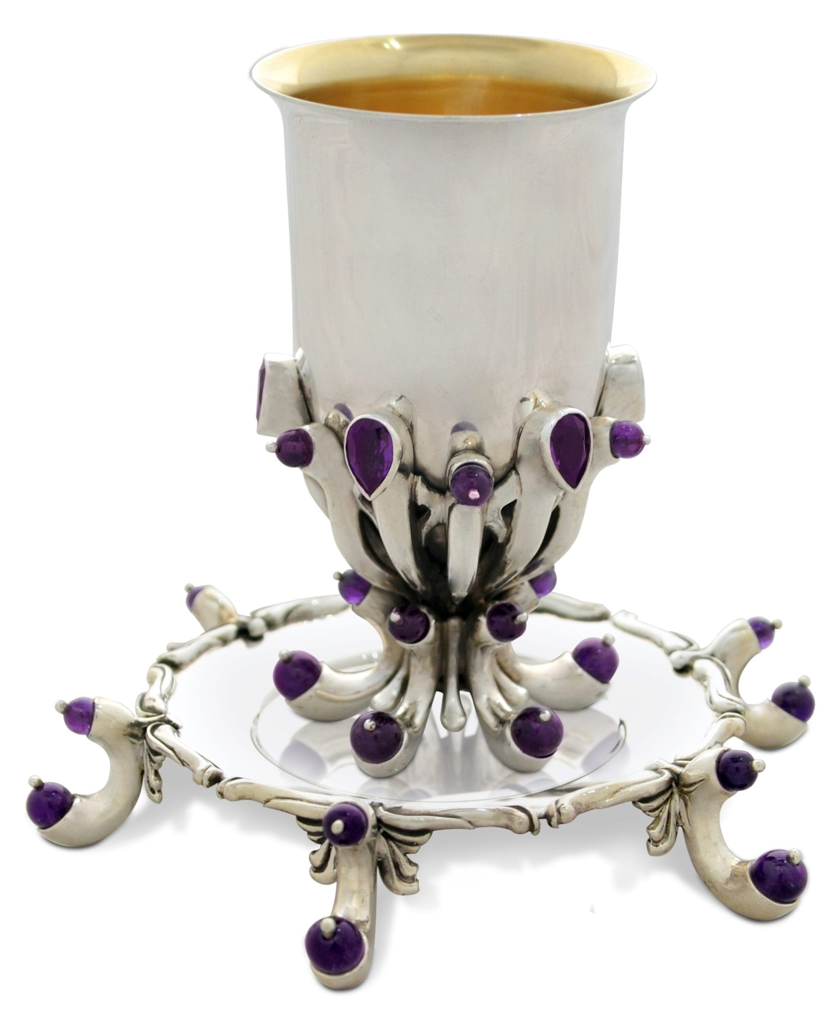 Sterling silver and amethyst cup and plate set