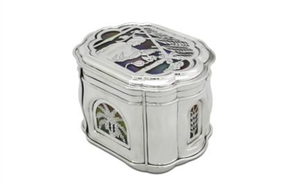 sterling silver citron box, etrog box, colorful sukkot story motif, judaica made in israel