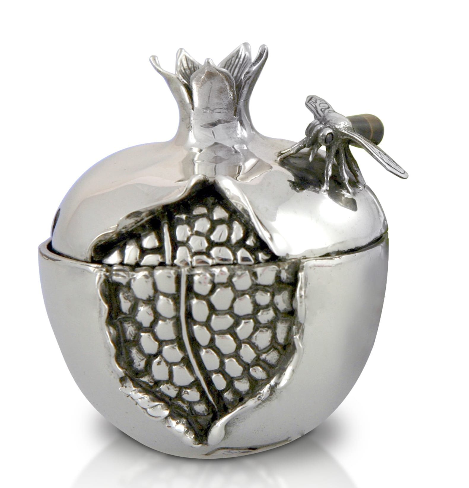 sterling silver pomegranate honey dish, rosh hashana gift, honey spoon, judaica made in israel