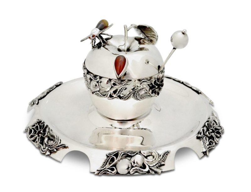 sterling silver apple honey dish set, honey plate, semi-precious stones, rosh hashana judaica, made in israel