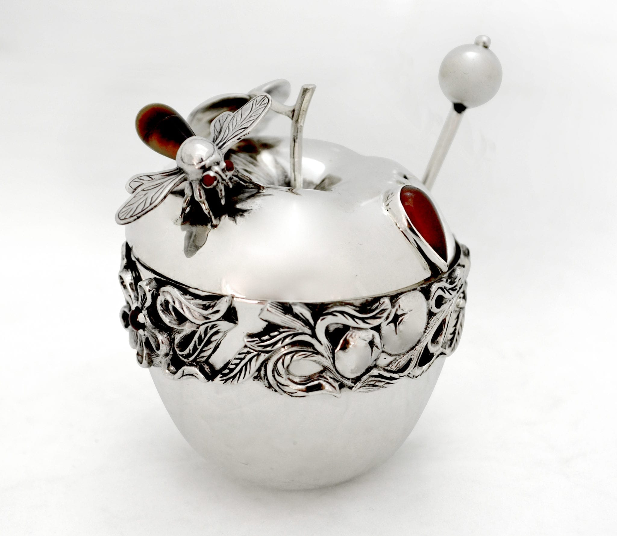 sterling silver apple honey dish, semi-precious stones, rosh hashana judaica, made in israel