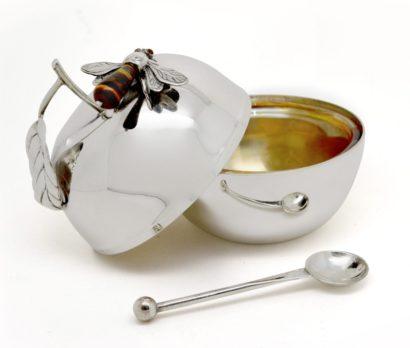 sterling silver apple-shaped honey dish, rosh hashanah judaica, honey bee, spoon, judaica made in israel