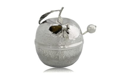 Hammered sterling silver apple-shaped honey dish, rosh hashanah judaica, honey bee, spoon, judaica made in israel