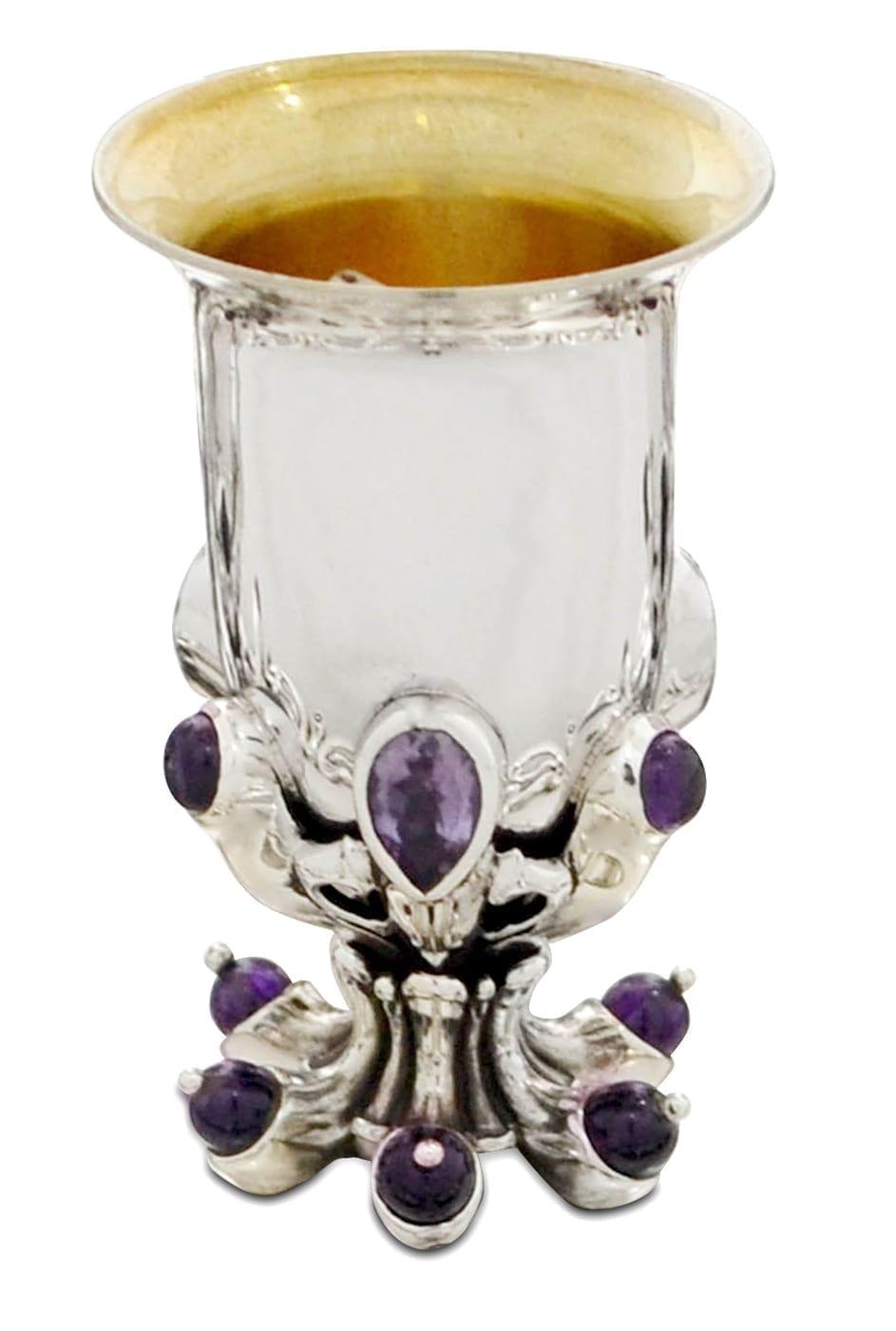 sterling silver liquor cup, semi-precious amethyst stones, judaica made in israel