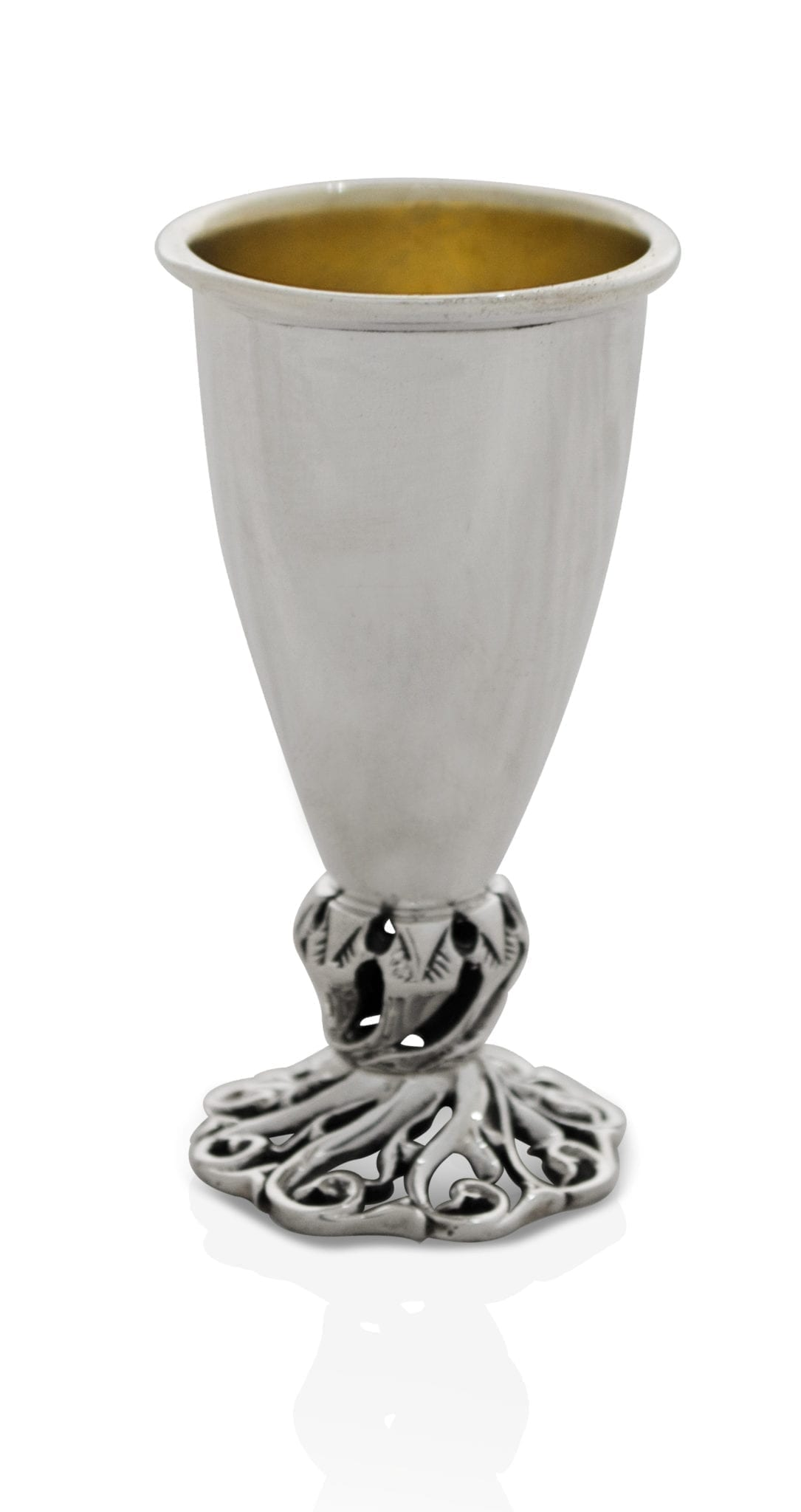 sterling silver liquor cup, swirl cut-out base design, judaica made in israel