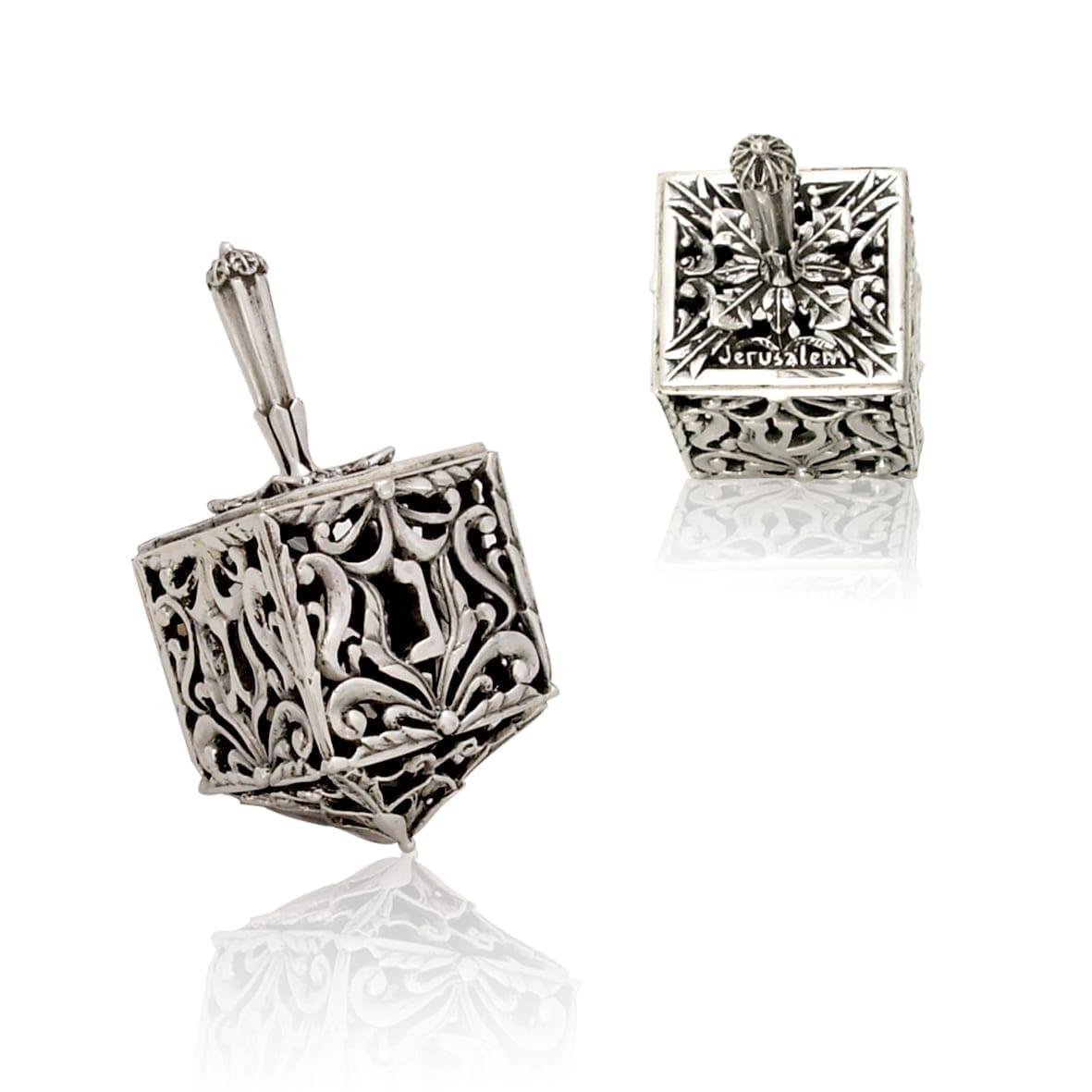 Rich sterling silver dreidel, Hannukah Judaica gifts made in Israel