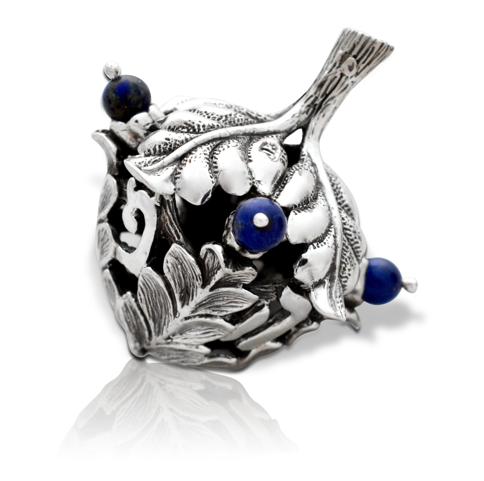 nature-inspired sterling silver dreidel. Sevinon shaped like an acorn with semi-precious stones. Hannukah Judaica gifts made in Israel