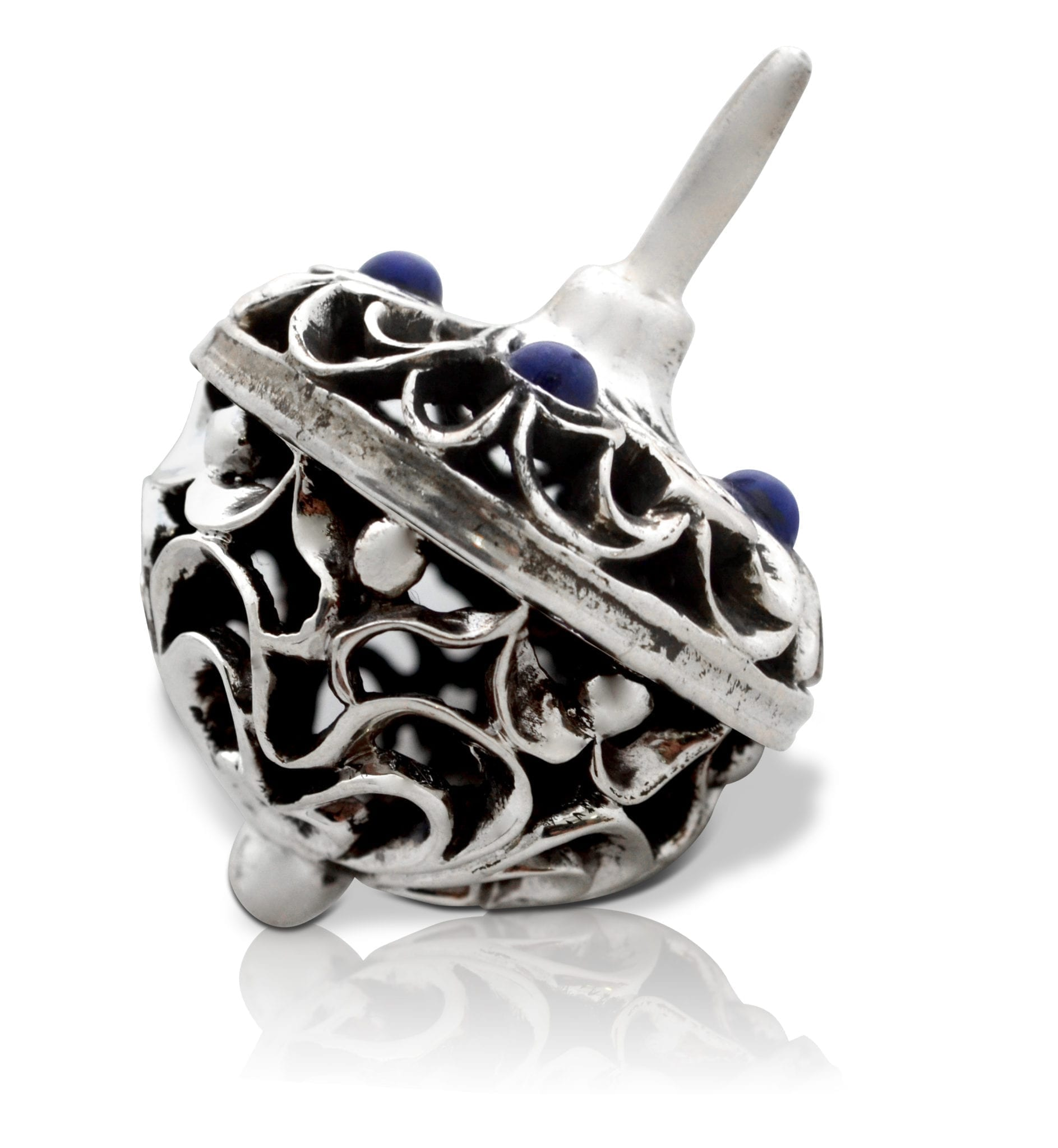 Rounded dreidel with semi-precious stones. Hannukah Judaica gifts made in Israel