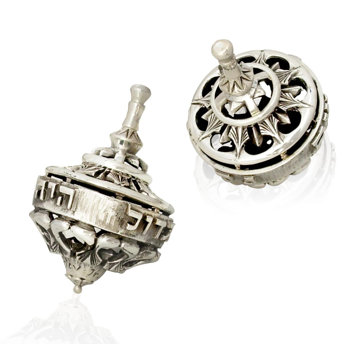 Sterling silver dreidel with neo-gothic patterns. Hannukah Judaica gifts made in Israel