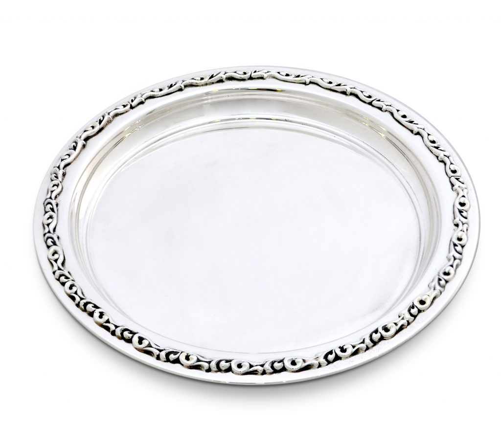 round sterling silver plate, scrolls design, serving tray