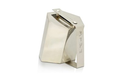 sterling silver charity box, modern tzedakah box, Hebrew, judaica made in Israel