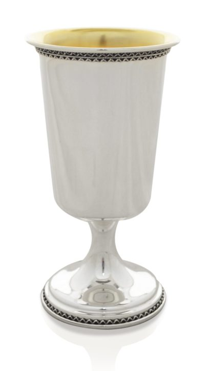 Grand filigree sterling silver Kiddush cup