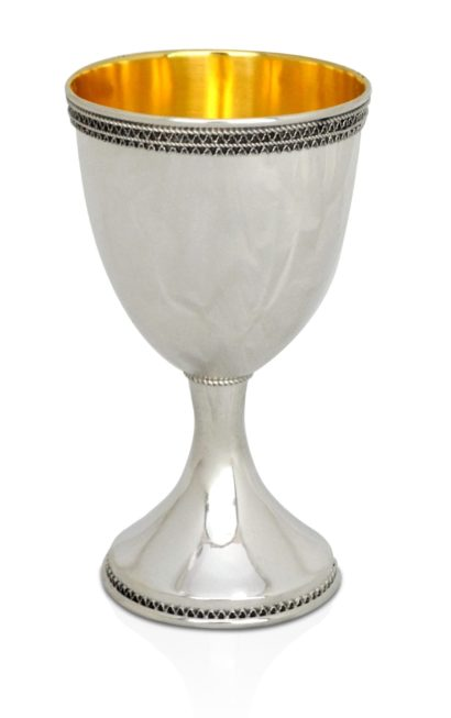 Sterling silver Kiddush cup in a modern design with filigree decorations