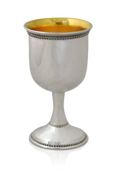 Sterling silver Kiddush cup adorned with filigree tracery