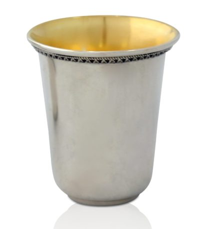 Simple and elegant sterling silver Kiddush cup with filigree