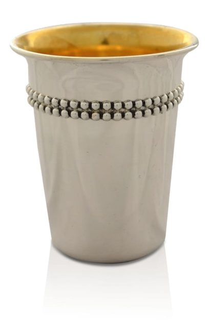 Simple and elegant sterling silver Kiddush cup with dainty silver decorations