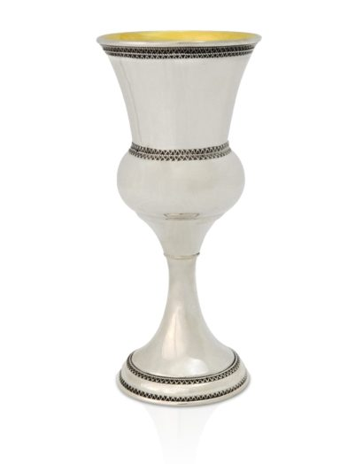 Sterling silver voluptuous Kiddush cup with filigree tracery