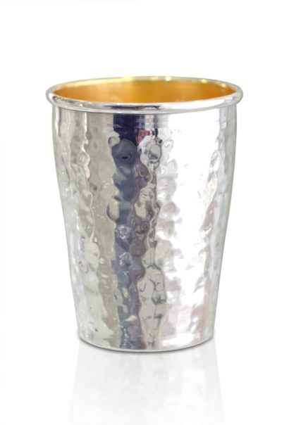 Simple and elegant hammered sterling silver liquor cup
