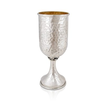 Hammered sterling silver Kiddush cup in a modern shape