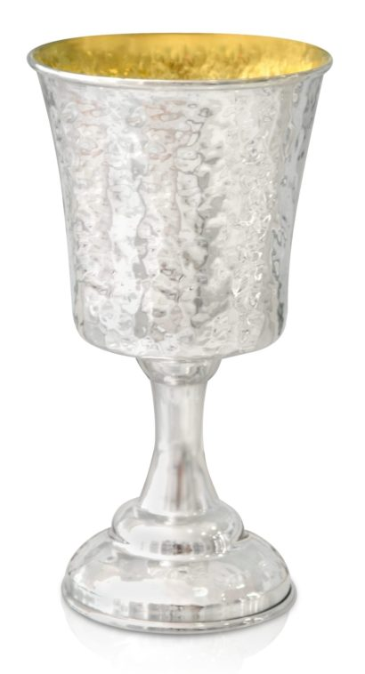 Hammered sterling silver Kiddush cup with a glorious, grand design, Shabbat Judaica