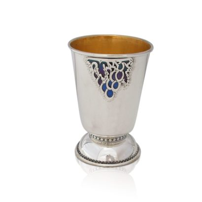 Sterling silver Kiddush cup with colorful enamel & grape decorations, made in Israel Judaica