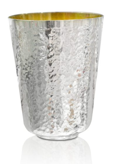 Sterling silver Kiddush cup with a glittering, modern finish