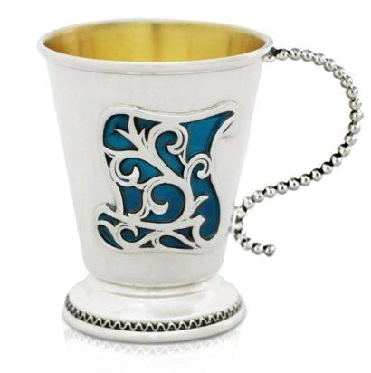 Graceful sterling silver & colorful enamel baby cup, judaica made in israel