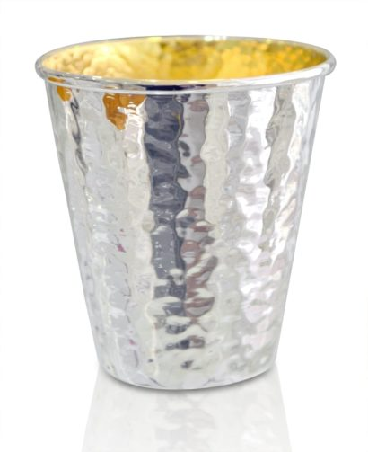 Hammered sterling silver Kiddush cup, classic design, judaica made in israel
