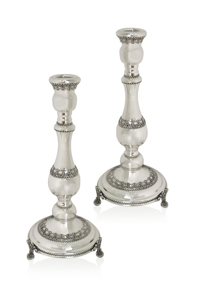 Petite sterling silver filigree candlesticks. Shabbat Judaica made in Israel
