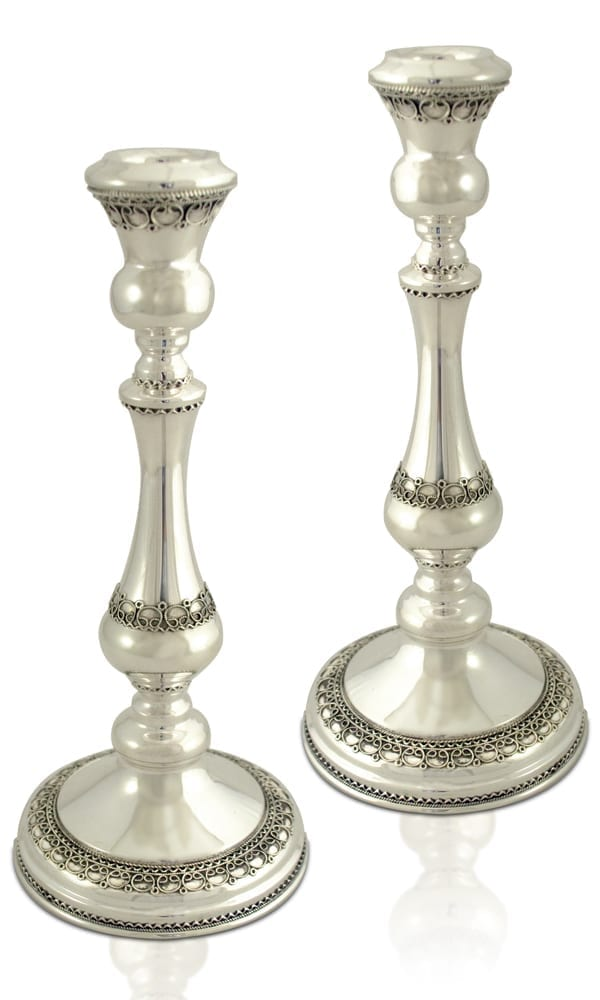 Elegant filigree sterling silver candlesticks. Shabbat Judaica made in Israel