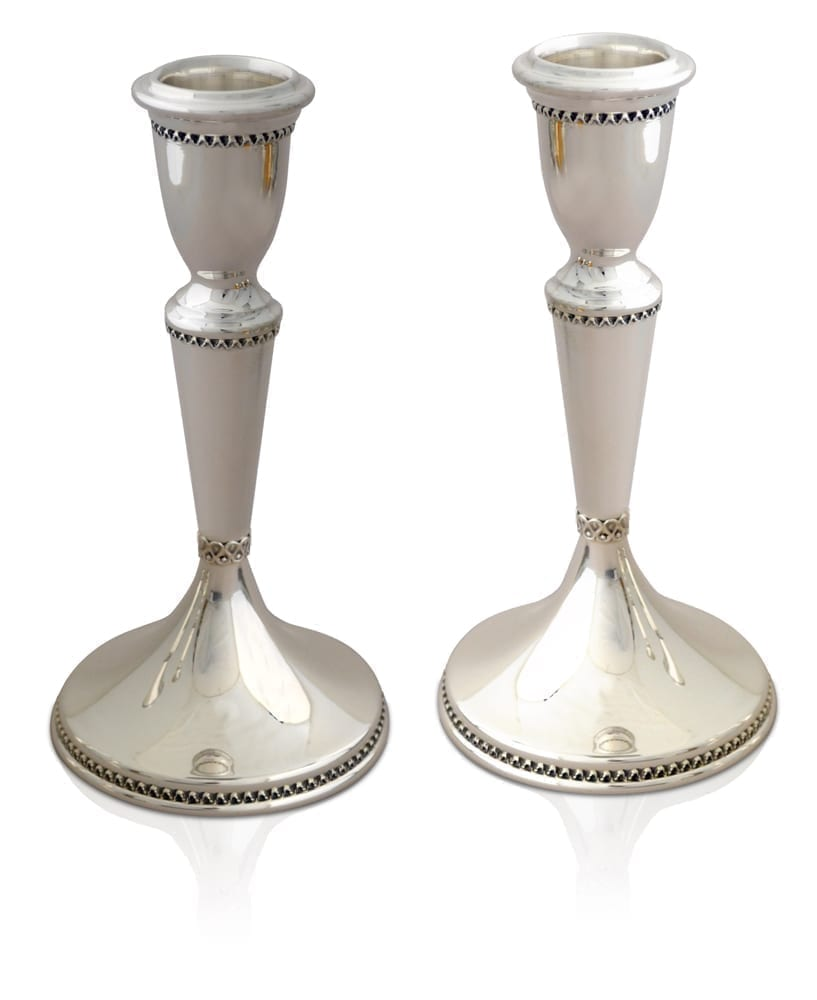 Clean, classic sterling silver candlesticks. Shabbat Judaica made in Israel