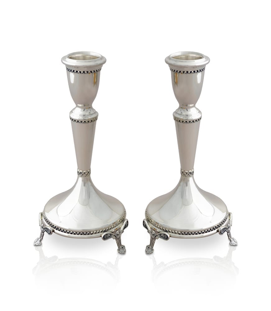 Clean, classic sterling silver candlesticks with legs. Shabbat Judaica made in Israel