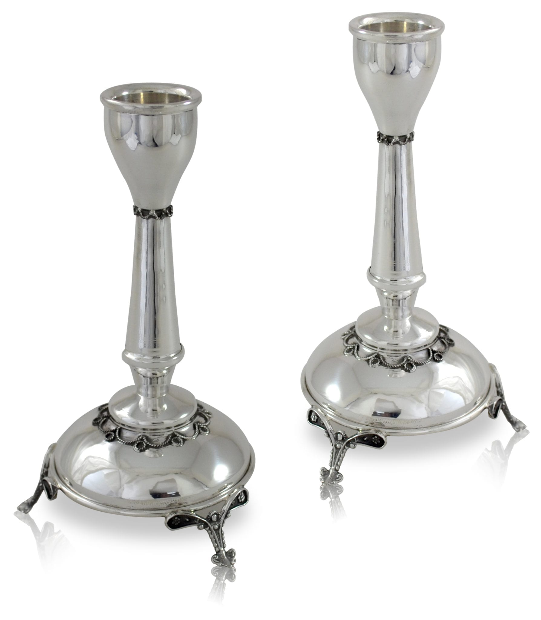 Sterling silver candlesticks in a classic design with rich filigree decorations. Sterling silver Shabbat Judaica & home decor, made in Israel.