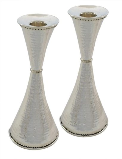 Hammered cone-shaped sterling silver candlesticks. Shabbat Judaica made in Israel