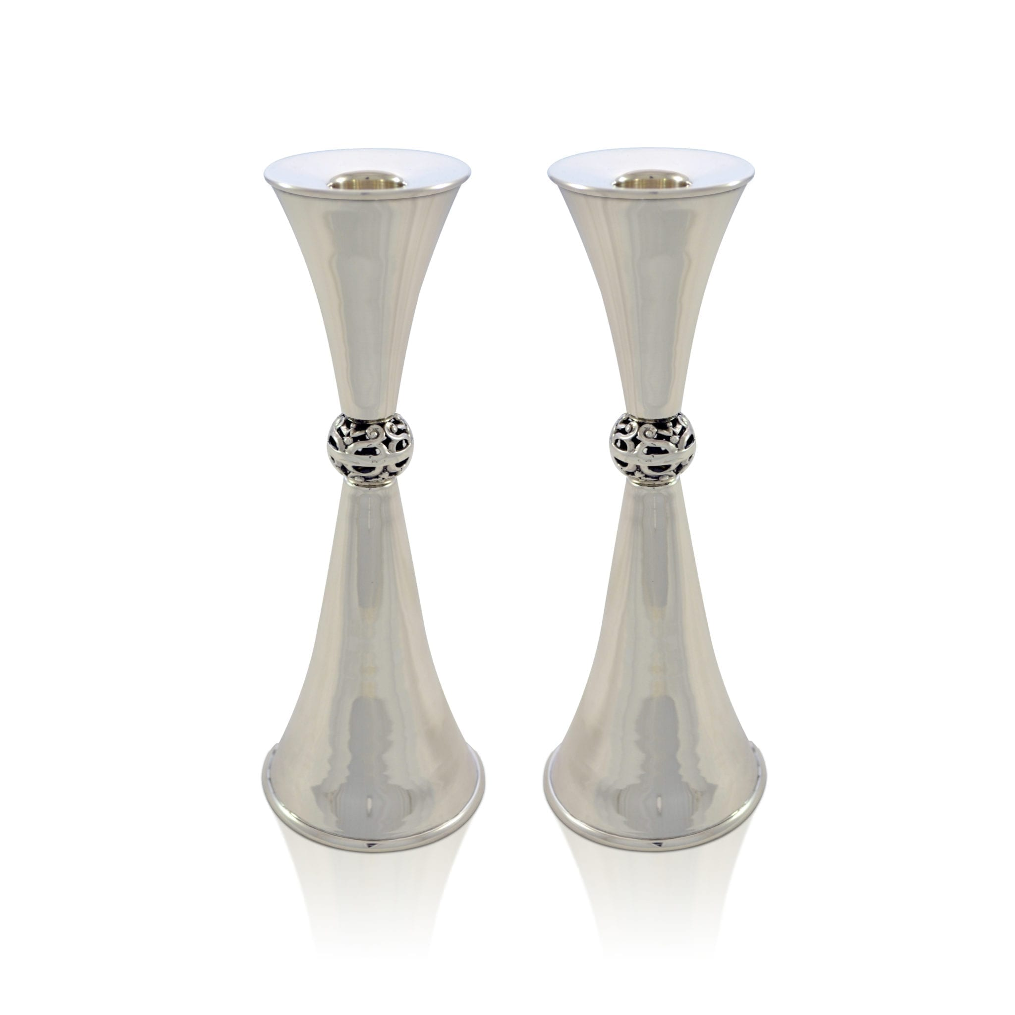 Sterling silver cone-shaped candlesticks. Shabbat Judaica made in Israel