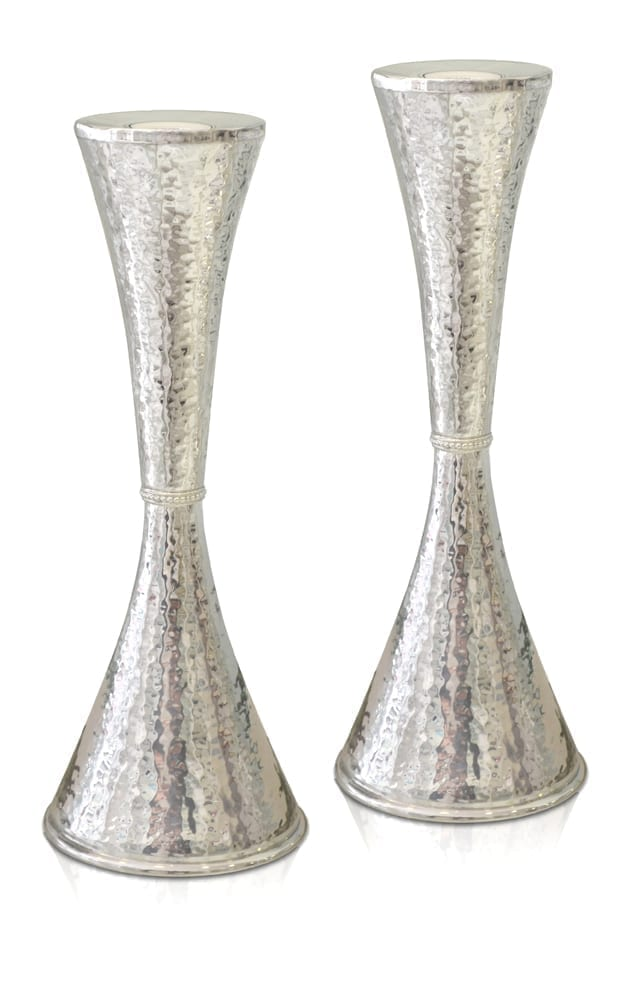 Hammered sterling silver cone-shaped candlesticks. Shabbat Judaica made in Israel