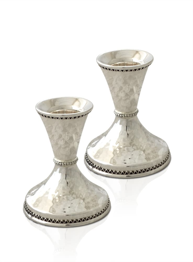 Mini hammered sterling silver candlesticks. Shabbat Judaica made in Israel