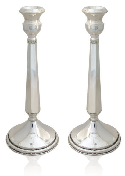 Modern sterling silver candlesticks with filigree. Shabbat Judaica made in Israel