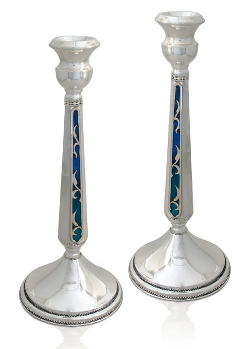 Modern sterling silver candlesticks with colorful, cold enamel. Shabbat Judaica made in Israel