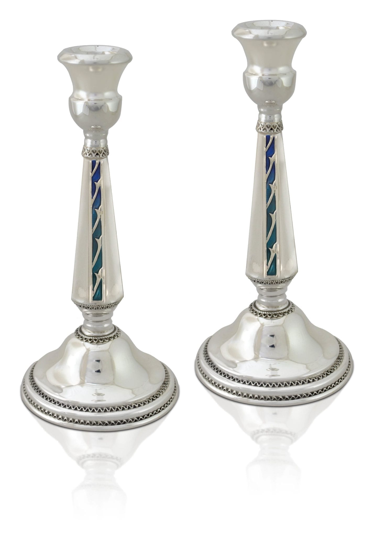 Colorful, cold enamel embellished sterling silver candlesticks. Shabbat Judaica made in Israel