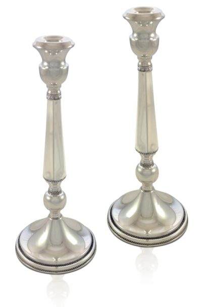 Classic and modern sterling silver filigree candlesticks. Shabbat Judaica made in Israel