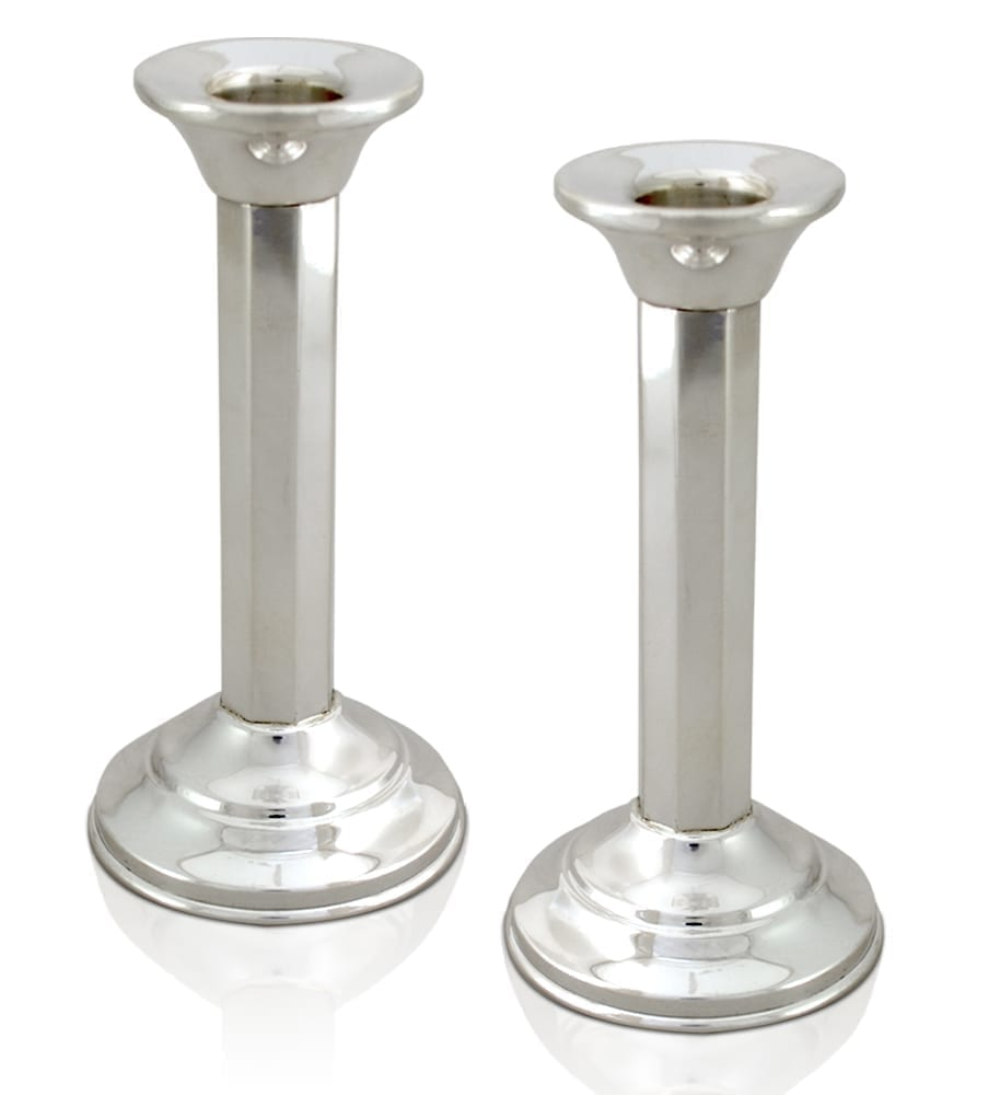 Petite neo-classical sterling silver candlesticks. Shabbat Judaica made in Israel