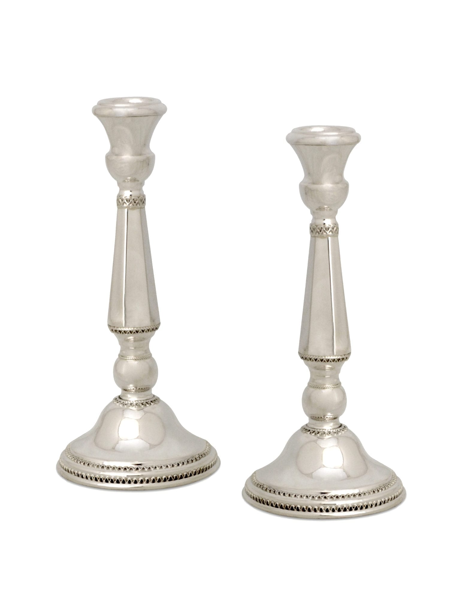 Small, elegant, classic Shabbat sterling silver candlesticks. Shabbat Judaica made in Israel