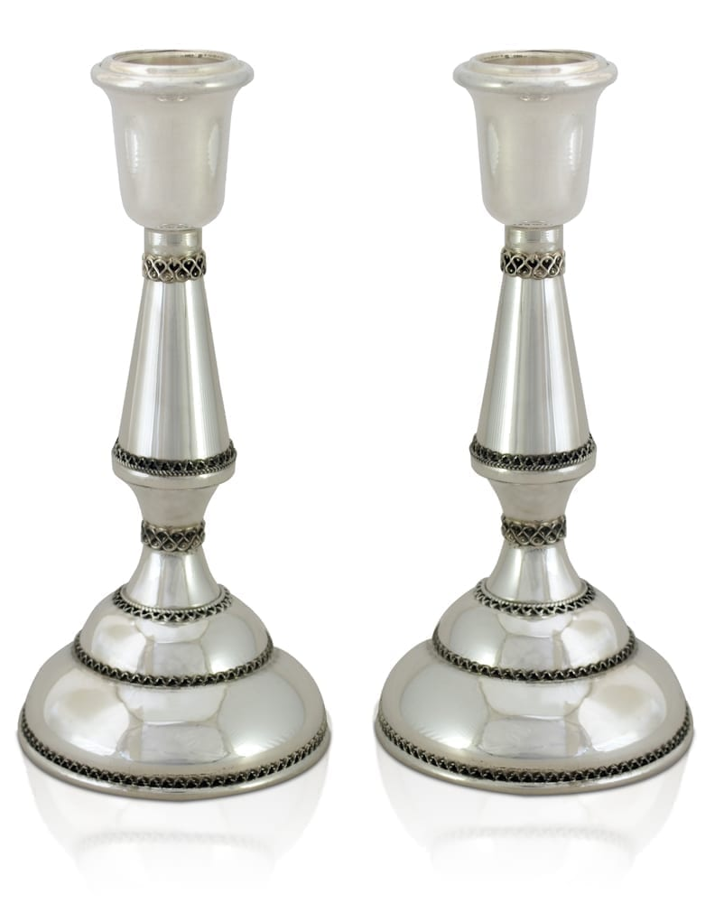 Filigree, classic Shabbat sterling silver candlesticks. Shabbat Judaica made in Israel