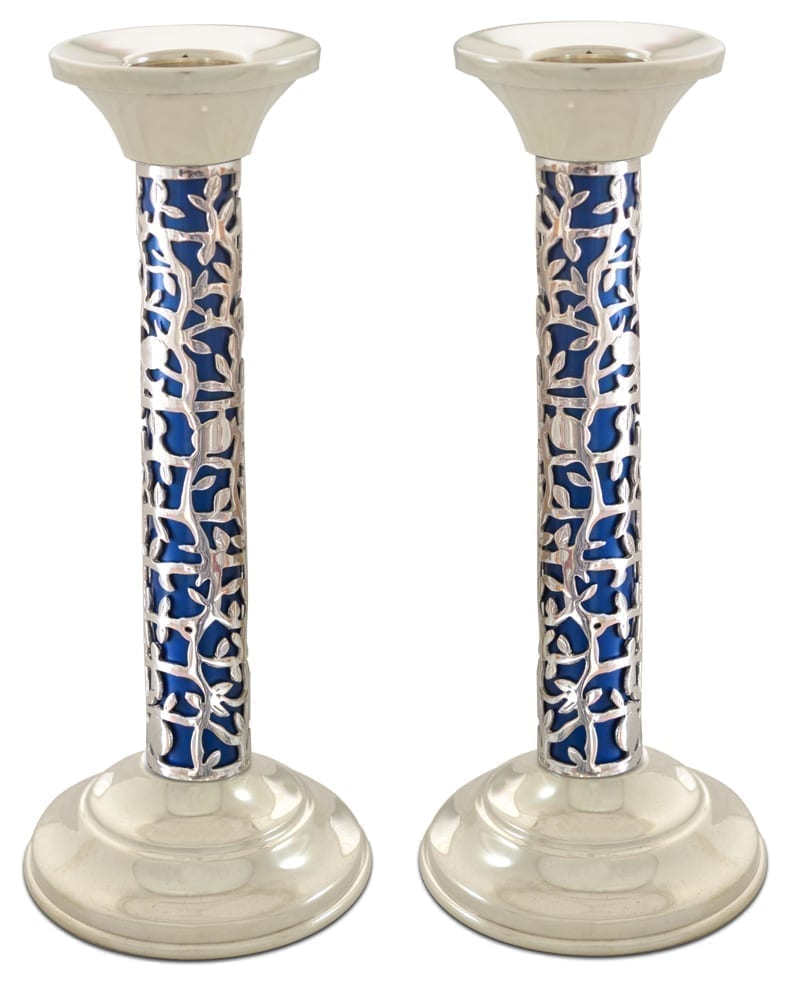 Tall Silver and blue Candlesticks