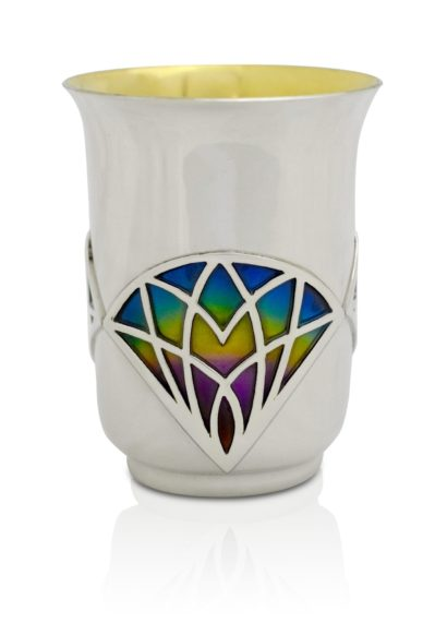 Sterling silver Cup with colorful cold enamel and a gold coated interior Unique gift for a wedding, barmitzvah, or Shabbat.