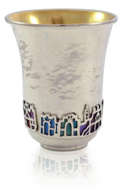 Hammered Kiddush cup with colorful Jerusalem motif