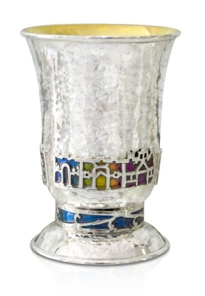 Sterling silver hammered Kiddush cup with colorful Jerusalem motif