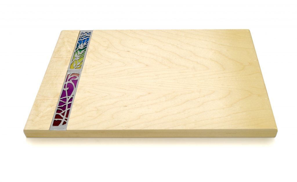 wooden breadboard, challah board, cheese board with colorful element